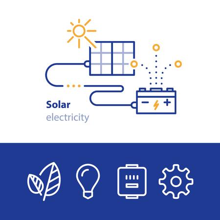 Solar panels, sun energy, electricity concept, services vector line icons