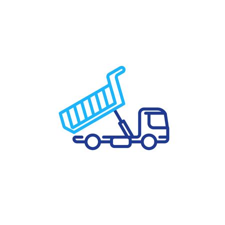 Tipper truck unloading, mono line icon, load transportation vector Illustration