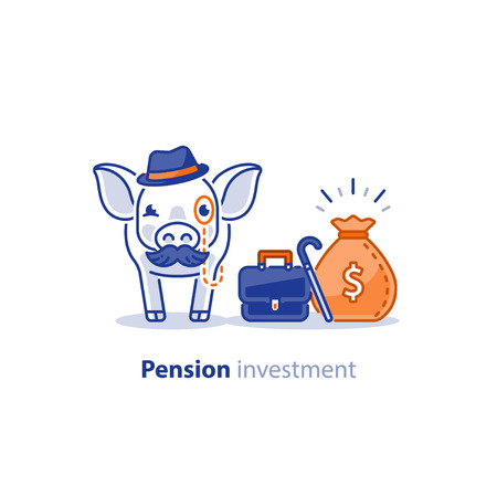 Wise old pig with mustache and hat, financial investment vector illustration, time is money, pension savings, superannuation fund Vettoriali