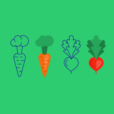 Carrot and beet root, flat an line vegetables vector icons