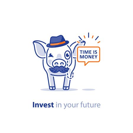 Wise old pig with mustache and hat, financial advice vector illustration, time is money, future investment in pension Illustration