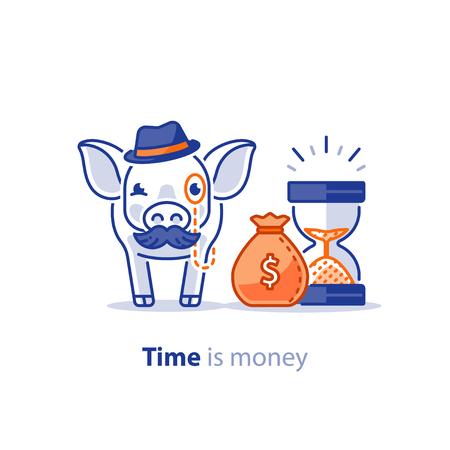Sábado viejo cerdo con bigote y sombrero, la inversión financiera ilustración vectorial, el tiempo es dinero, ahorros de pensiones, fondos de jubilación