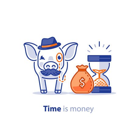 Wise old pig with mustache and hat, financial investment vector illustration, time is money, pension savings, superannuation fund Illustration