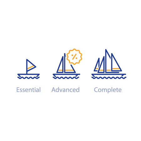 Upgrade or improvement concept with ships, small and big boat comparison, three yachts options, best choice, vector line icons Illustration
