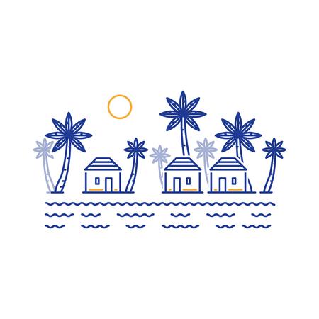 島の楽園、リゾート海岸のバンガローで。小部族は、南部の土地の小さな村。アフリカ、アジアやインドがあるかもしれない