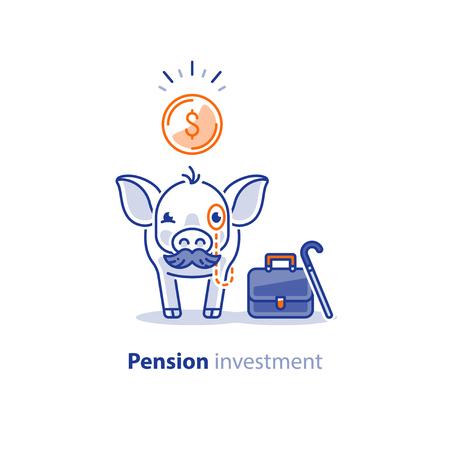 Kluges altes Schwein mit Schnurrbart und Münze, finanzielle Investition Vektor-Illustration, Zeit ist Geld, Rente Einsparungen, Superannuation Fonds