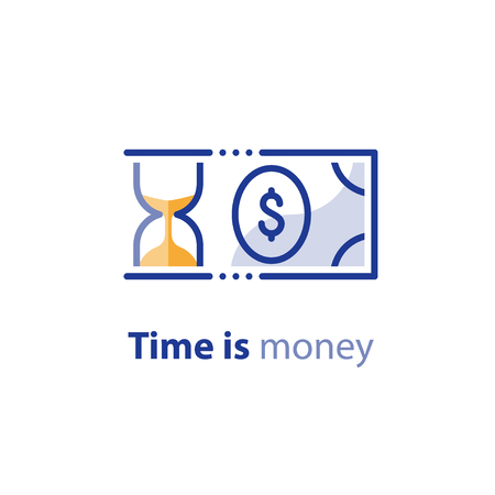 Financial investing services, time is money, cash back concept, return on investment, savings account, currency exchange, hourglass vector line icon Illustration