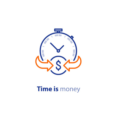 annuity: Financial services, time is money, cash back concept, return on investment, savings account, currency exchange, vector line icon Illustration
