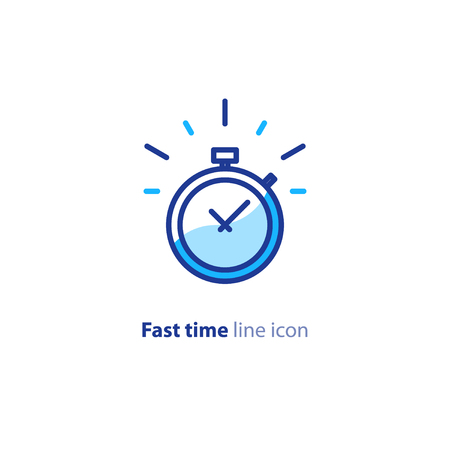Fast time logo, stop watch speed concept, quick delivery, express and urgent services, deadline and delay, vector line icon Ilustrace