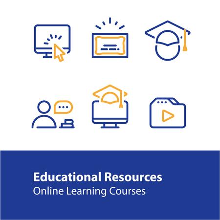 Bildungsressourcen Vektor-Linie-Icon-Set, Online-Lernkurse, Fernunterricht, Hochschulabschluss, Graduierung Hut, E-Learning-Tutorials