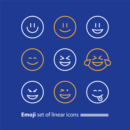 Set of linear emoji icons, black white mono line design, vector facial expressions, emoticon collection