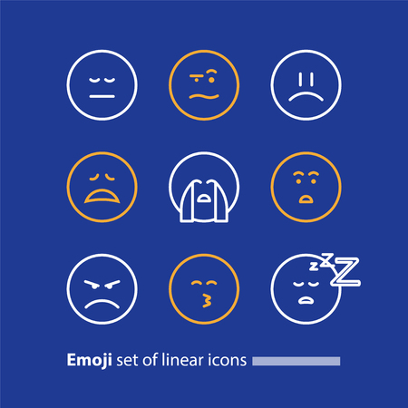 hushed: Set of linear emoji icons, black white mono line design, vector facial expressions, emoticon collection