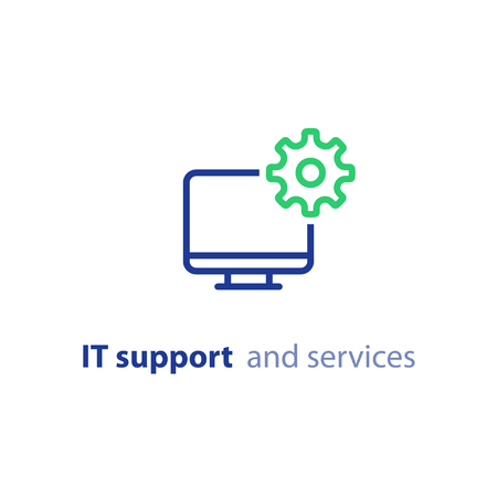 Equipo de reparación, soporte de TI y concepto de servicios, desarrollo de software, administración de sistemas, actualización de escritorio y actualización, instalación de programas, icono de línea de vectores Ilustración de vector