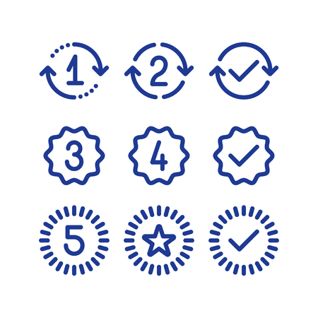 duration: Years of warranty stamp set, one two three four five numbers, guarantee signs, approved symbol, best choice mark, vector line icons