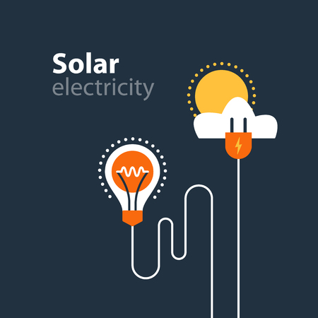 Solar electrical services and supply icons, energy saving concept, electricity connection graphic elements. lignt bulb and plug fork. Flat design vector illustration