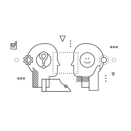 Illustrazione di disegno lineare di concetto di formazione di psicologia