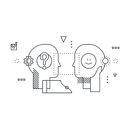 Psychology education concept linear design illustration