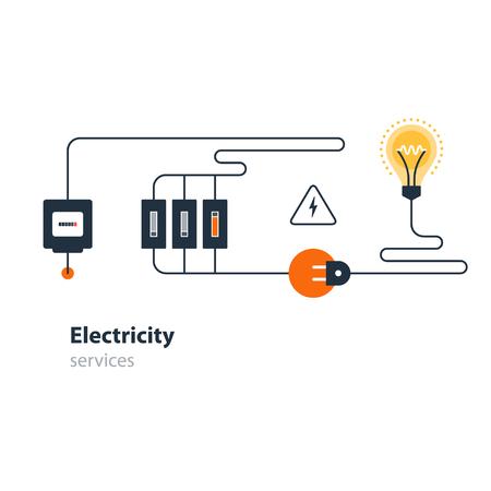 Electricity graphic elements flat design vector illustration Illustration
