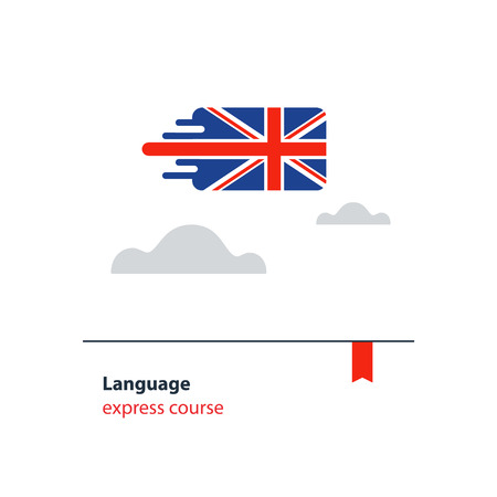 fluency: British English language class concept icon set flat design vector illustration