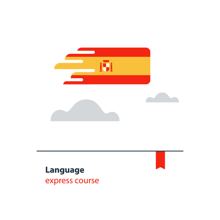 fluency: Spanish language flag icon and logo flat design vector illustration