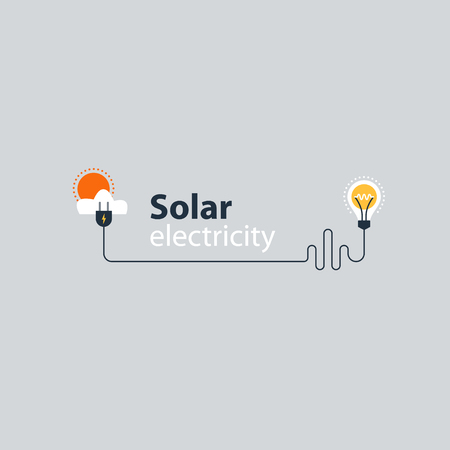 outage: Solar electrical services and supply icons, energy saving concept, electricity connection graphic elements. lignt bulb and plug fork. Flat design vector illustration