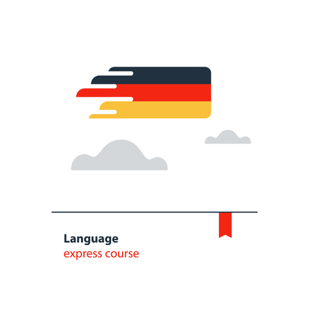 fluency: German language class concept icon set and flag logo flat design vector illustration