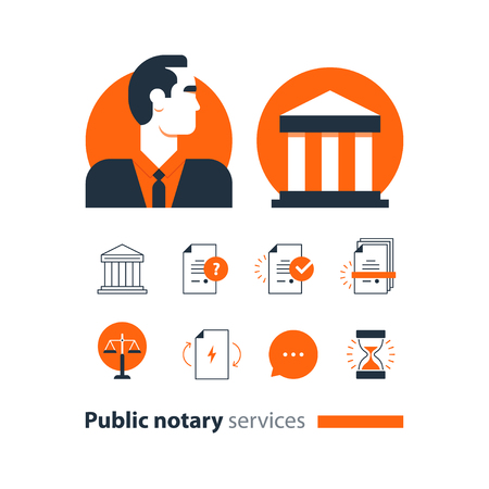 Law services and public notary concept icon set in flat design vector illustration