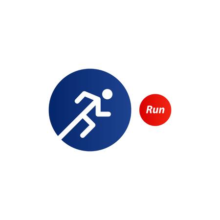 Running marathon identity, runner icon. Sport triathlon logo. Red blue flat minimalistic design vector illustration