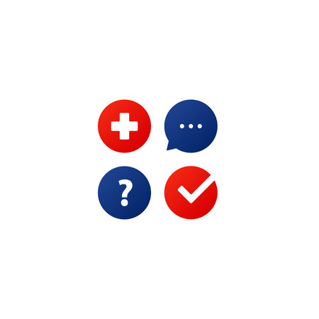 Health care and medicine services icon and logo in flat design vector illustration