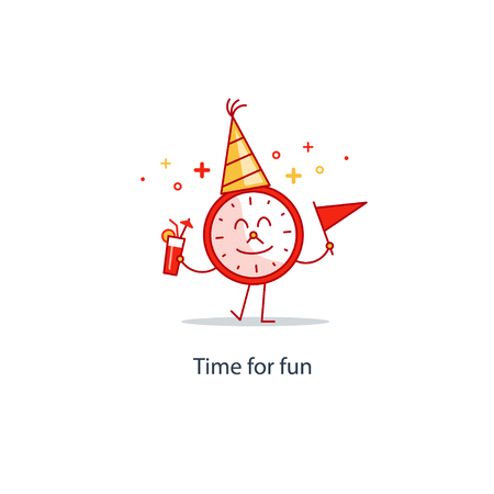 Time clock with cone hat, cocktail and flag in hands, waving and smiling. Birthday party, friday night. Midnight countdown. Entertainment services. Happy hour concept. Flat design vector illustration