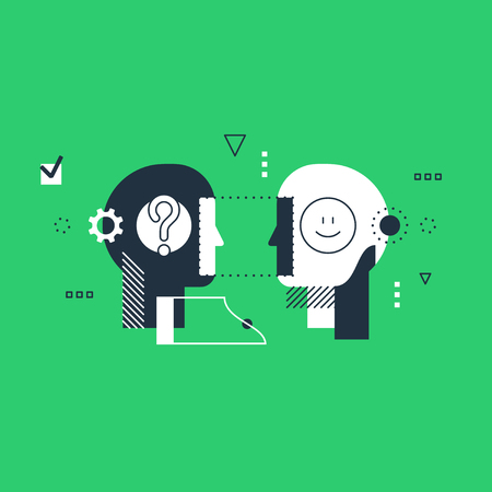 Psychology education concept. Emotional intelligence concept, communication skills, reasoning and persuasion. Linear design illustration