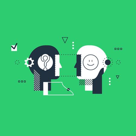 Psychologie onderwijs concept. Emotionele intelligentie concept, communicatievaardigheden, redeneren en overtuigen. Lineaire ontwerp illustratie