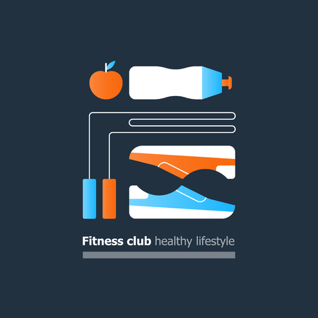 sports equipment: Fitness club poster concept, healthy lifestyle, collage with sneakers, trainers, jumping rope and water bottle, apple icon, training course, sport activity banner, vector flat design illustration