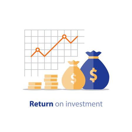 Graphique de productivité finance, graphique de retour sur investissement, planification budgétaire, concept de dépenses, rapport de comptabilité, croissance du revenu, tableau de bord statistique Vecteurs