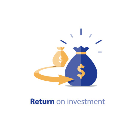 Return on investment, finance consolidation, budget planning, savings account, income growth, long term investment, refinancing concept, vector flat icon Vettoriali
