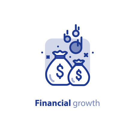 Fund raising, financial security, home budget planning, return on investment, economy concept, savings account, vector line icon