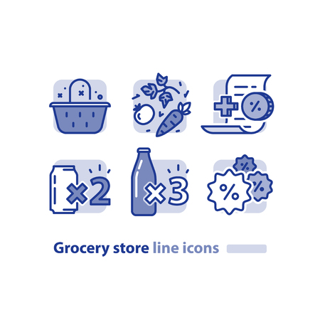 collect: Grocery store line icons, basket and vegetables, earn reward points, loyalty program, buy two cans, three bottles offer, bonus coupon, shopping vector illustration