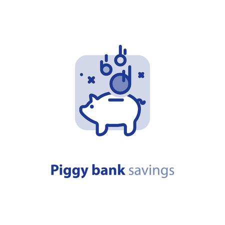 Piggy bank concept, home finance, long term investment, savings account deposit, pension fund, financial planning, vector line icon