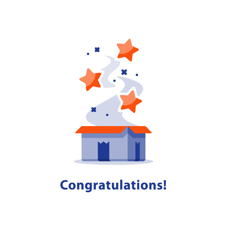 marvel: Congratulations opened gift box, surprising blue red present, fun experience, special reward, holiday celebration, happy birthday, vector flat illustration