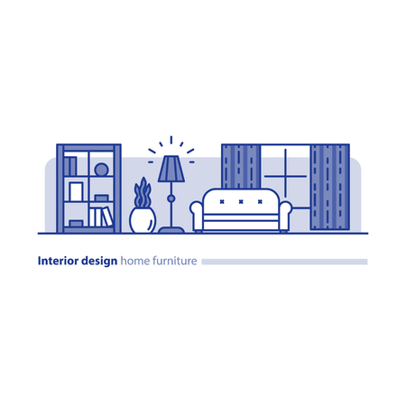 combination: Interior design solution, minimalism living room, set of home furniture, tidy apartment, household vector line icon