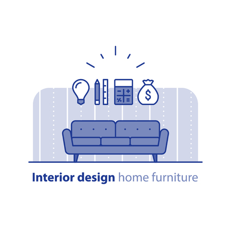 preference: Interior design idea, sofa icon, renovation cost calculation, order furniture, project budget, vector flat illustration Illustration