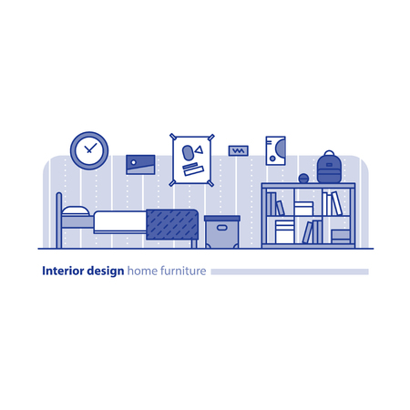 combination: Teenage bedroom interior design, home furniture, minimalism modern concept, bed room furniture with bookcase, box and posters on wall, vector illustration