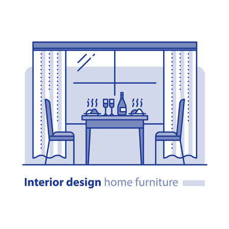 dining table and chairs: Dining room, interior design project, window with curtains, restaurant table with dishes and chairs, vector illustration