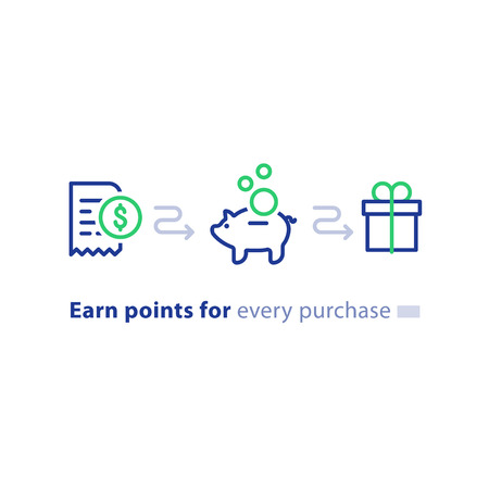 Earn points for purchase concept, loyalty program, cash back, marketing and promotion, reward gift, get bonus, vector line icons