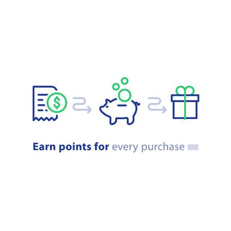 Ganhe pontos para conceito de compra, programa de fidelidade, devolução de dinheiro, marketing e promoção, presente de recompensa, obtenha bônus, ícones de linha vetorial Foto de archivo - 87332812