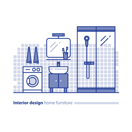 combination: Interior design, bathroom concept, minimalist modern style, mirror with sink, washing machine and shower glass cabin, vector icons, mono line illustration Illustration