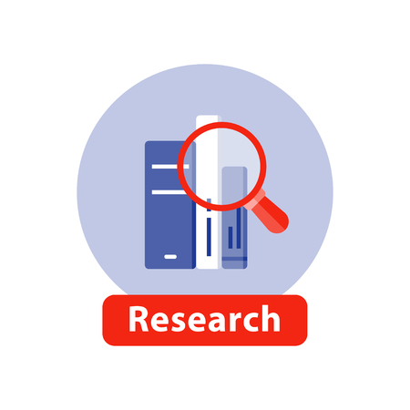 education concept: Study books, subject research, learn information, book stack and magnifying glass, scholarship concept, library archive, literature reading, vector flat illustration