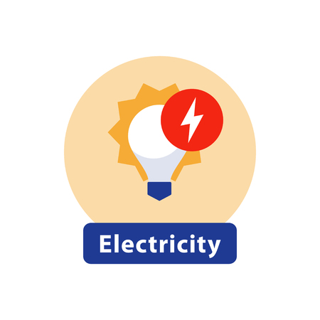 Electricity services, installation and maintenance, outage and blackout, energy efficient light bulb, high voltage sign, vector icon, flat illustration Çizim