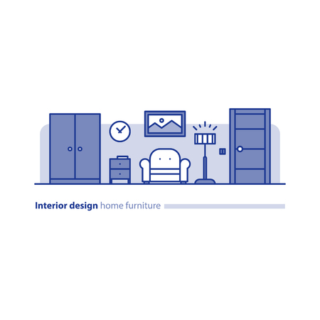 combination: Interior design solution, minimalism living room, set of home furniture, tidy apartment, household vector illustration Illustration