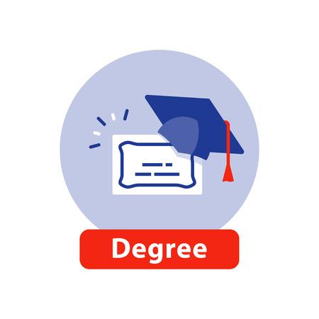 Hochschulabschluss, Abschlusszeugnis, Abschlusshut, Bildungskonzept, Business School, Trainingsprogramm, Vektorikone, flache Illustration Vektorgrafik